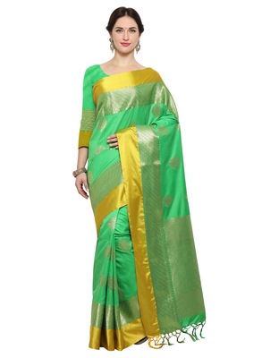 Green woven katan silk saree