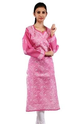 Pink embroidered cotton stitched kurtas-and-kurtis