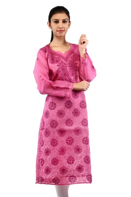 Pink embroidered cotton stitched kurtas-and-kurtis