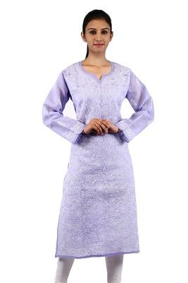 Purple embroidered cotton stitched kurtas-and-kurtis