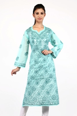 Green embroidered cotton stitched kurtas-and-kurtis