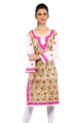 White embroidered cotton stitched kurtas-and-kurtis