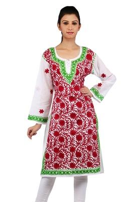 White embroidered cotton stitched kurtas-and-kurtis