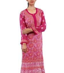 Pink embroidered georgette stitched kurtas-and-kurtis
