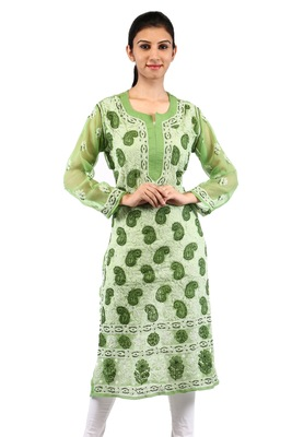 Green embroidered georgette stitched kurtas-and-kurtis