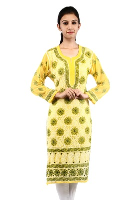 Yellow embroidered georgette stitched kurtas-and-kurtis