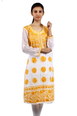 White embroidered georgette stitched kurtas-and-kurtis