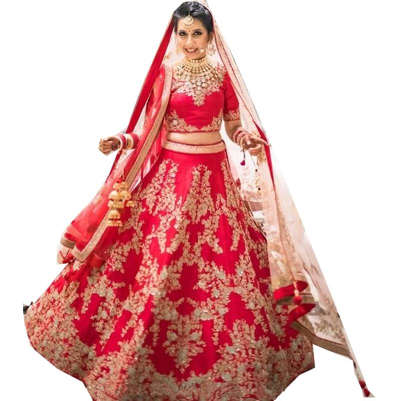 Buy Red Embroidered Dupion Silk Unstitched Lehenga Online