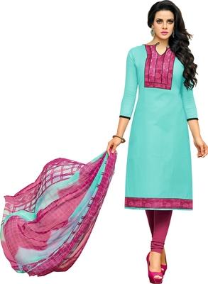 Sky blue printed cotton salwar with dupatta