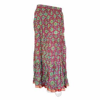 Jaipuri Pink Turquoise Fine Cotton Lehanga Skirt