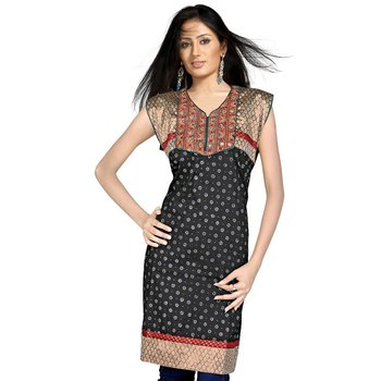 Designer Embroidered Fancy Black Cotton Kurti