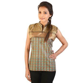 Ethnic Girls Resham Zari Work Brown Cotton Top