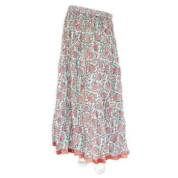 Jaipuri Ethnic Floral Print Long Green Coton Skirt