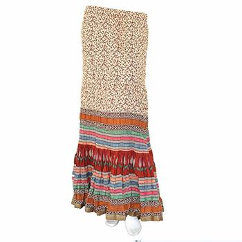 multicolorcolor Base Handblock Print Long Cotton Skirt