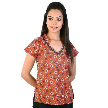 Floral Design Laced Indian Orange Cotton Top