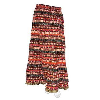 multicolor Layer Flower Print Design Cotton Long Skirt