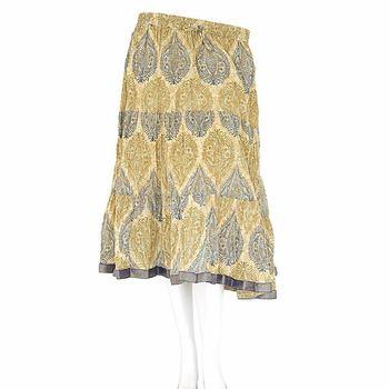 Classic Handblock Print Medium Yellow Cotton Skirt