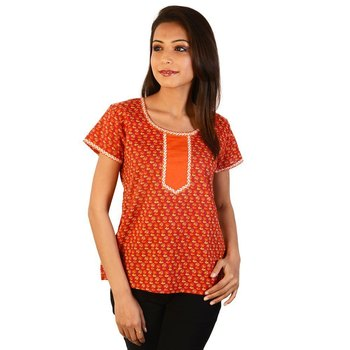 Ethnic Girls Floral Print Orange Cotton Top