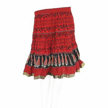 Designer Block Printed Red Base Mini Cotton Skirt