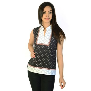 Ethnic Design Brocade Indian Black Cotton Top