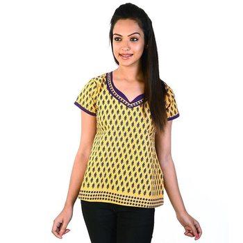 Designer Purple Bootie Yellow Base Cotton Top