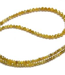 "Buy 20.00 CARAT NATURAL REAL YELLOW DIAMOND FACETED BEADS NECKLACE 16"" gemstone-necklace online"