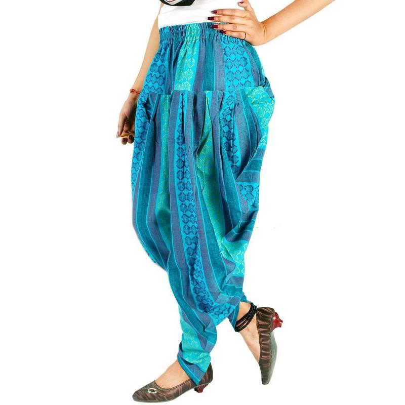 Buy Jaipuri Hand Weaved Girls Blue Color Harem Pants Online