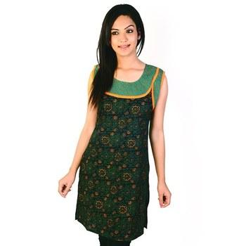 Designer Rajasthani Print Green Cotton Kurti