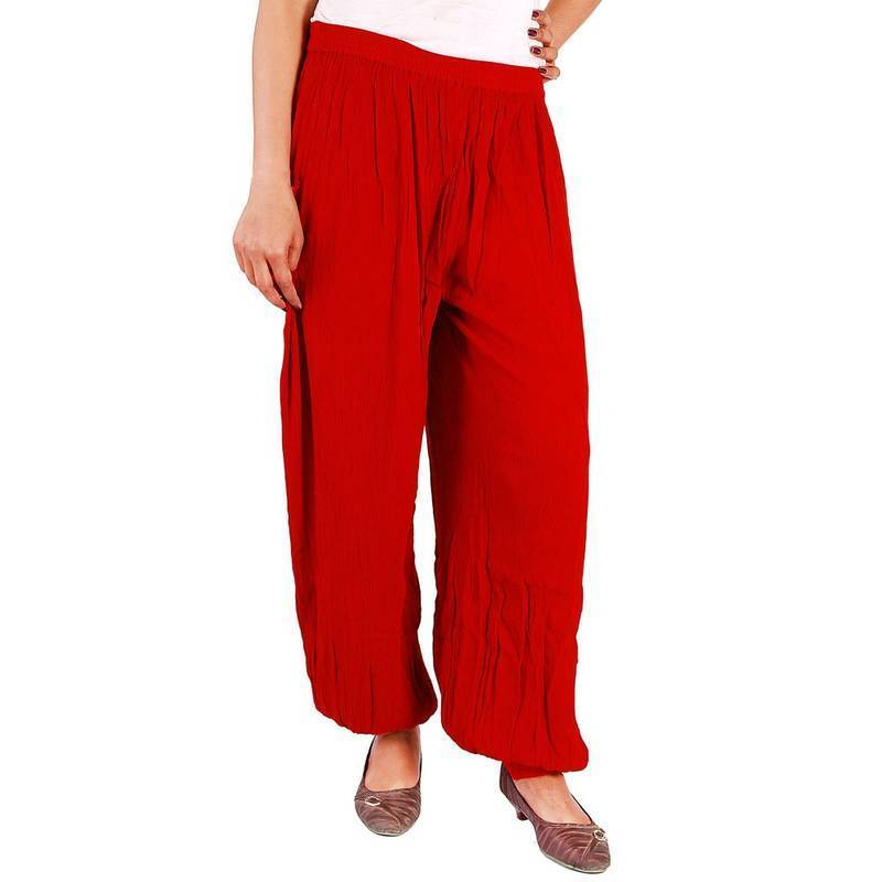 Buy Designer Rayon Crepe Girls Red Color Harem Pants Online