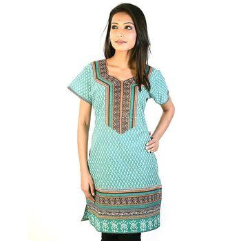 Hot Designer Girls Sea Green Pure Cotton Kurti