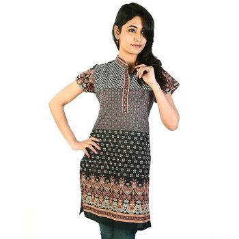 Jaipuri Designer Multi Print Black Cotton Kurti