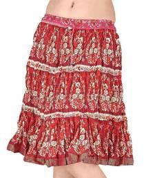 Buy Raspberry Red Designer Print Cotton Mini Skirt skirt online