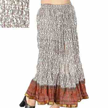 Ethnic Booti Designer White Cotton Long Skirt