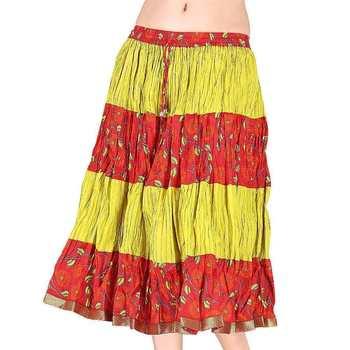 Ethnic Yellow And Orange Cotton Short Skirt