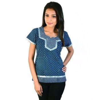 Designer Silver Block Print Blue Cotton Top