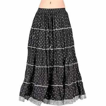 Rajasthani Black Booti Pure Cotton Long Skirt