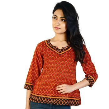 Designer Red Girls Indian Pure Cotton Kurti