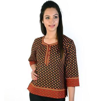 Jaipuri Print Designer Red Black Cotton Kurti
