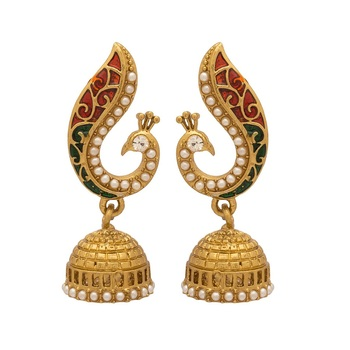 Gold Plated Beautiful Pearl Peacock Jhumki