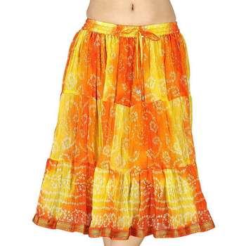 Yellow and Orange Bandhej Short Chiffon Skirt