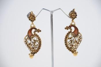 Traditional Peacock Earrings in Brown