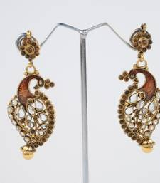 Traditional Peacock Earrings in Brown shop online