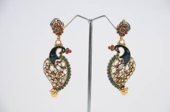 Traditional Peacock Earrings in Green