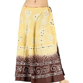 Bandhej Exclusive Beige Brown Cotton Skirt