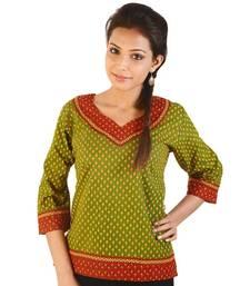 Jaipuri Designer Leaf Print Green Cotton Top