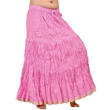 Zari Border Pink Cotton Fashionable Long Skirt