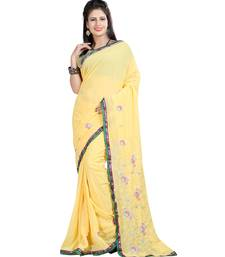 Buy Yellow embroidered georgette saree with blouse below-1500 online