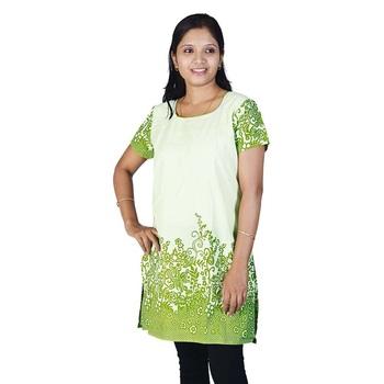 Stylish Abstract Print Girls Green Ivory Kurti
