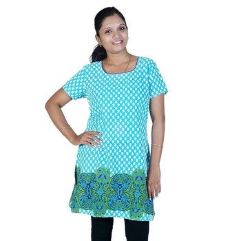 Bollywood Abstract Design Turquoise Cotton Kurti