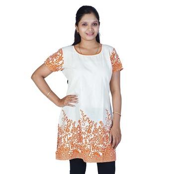 Rajasthani Abstract Print Orange Ivory Kurti